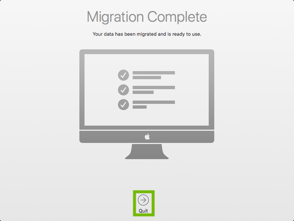 Migration complete with Quit highlighted.