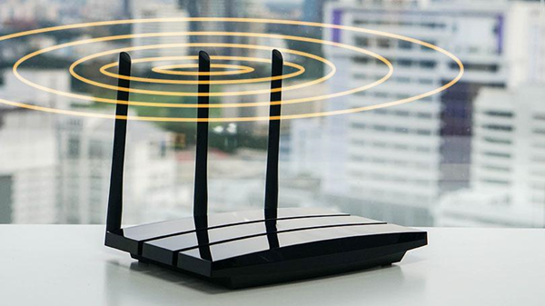 Router emitting wireless signals.