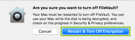 Restart and turn off encryption button highlighted