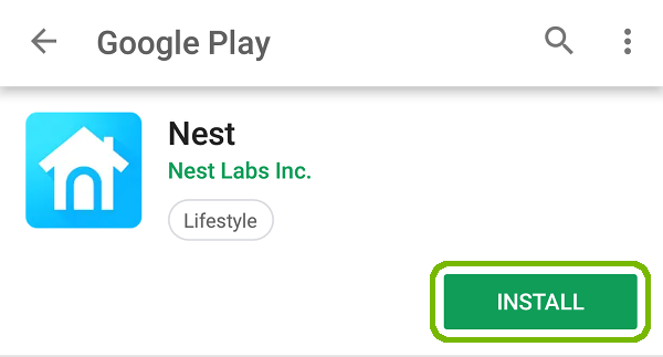 Nest Play Store page with Install button highlighted.