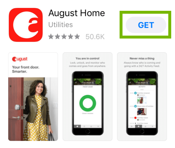 August Home app with the Get button highlighted