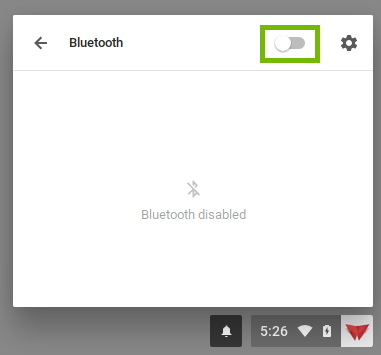 Chrome Bluetooth settings with the on off switch highlighted