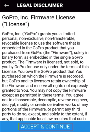 GoPro app update license agreement screen. Accept and continue button highlighted.