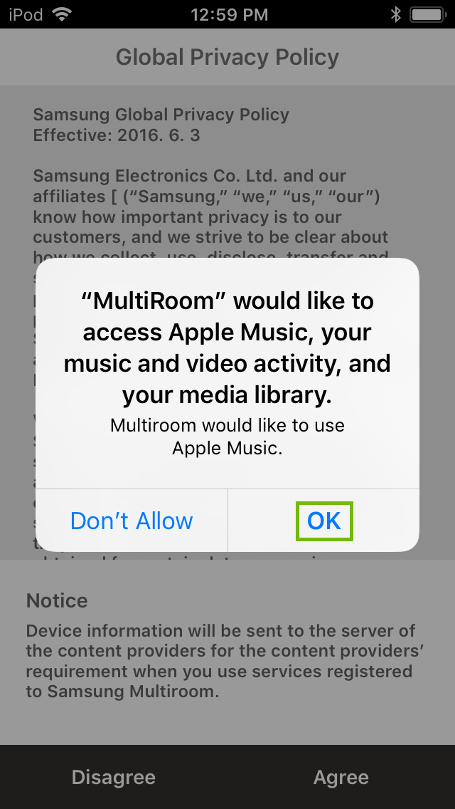 request for media access permission dialog with ok button highlighted