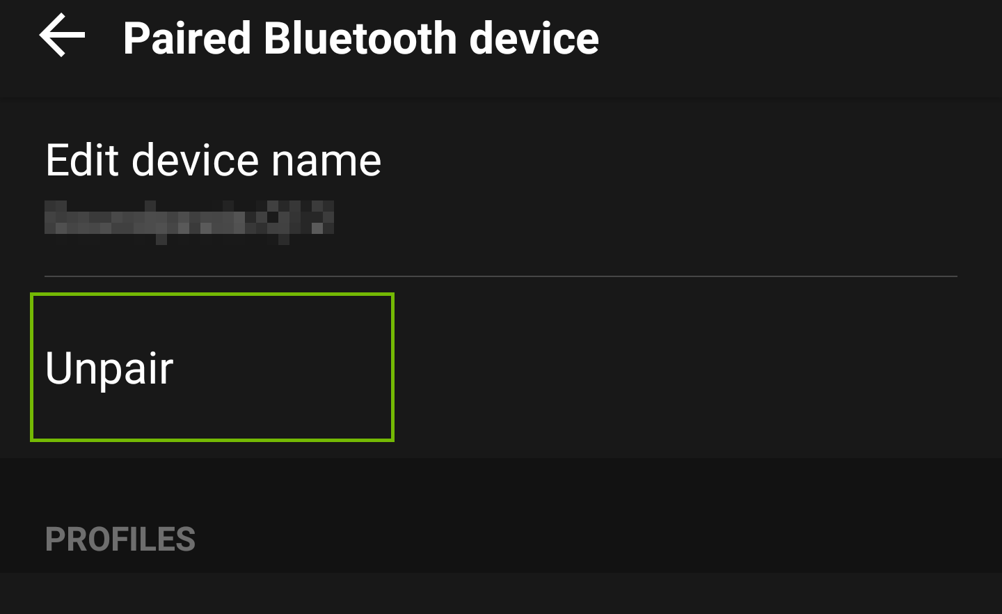 Screenshot of device bluetooth options with unpair highlighted