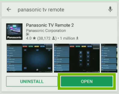 Panasonic TV 2 Remote app page with Open button highlighted