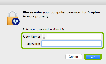 Access prompt with User Name, Password, and OK button highlighted.