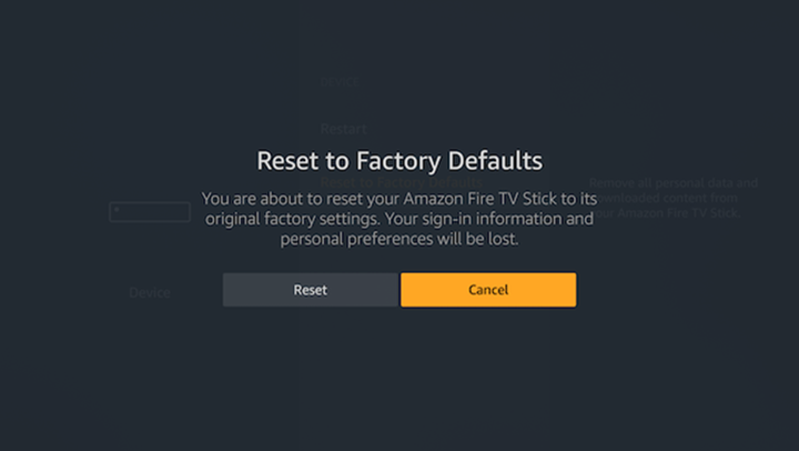 Factory reset confirmation prompt.