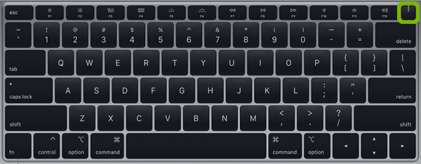 MacBook Air keyboard with Power button highlighted.