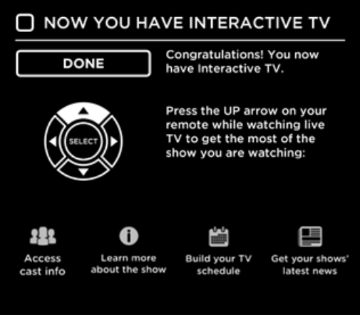Interactive TV setup completion confirmation screen