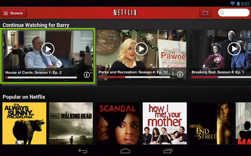 Netflix app highlighting a movie being selected to watch.