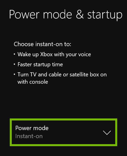 Power Mode option highlighted in Xbox One settings.