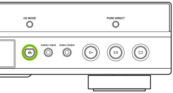 Blu-ray front panel with button highlighted.