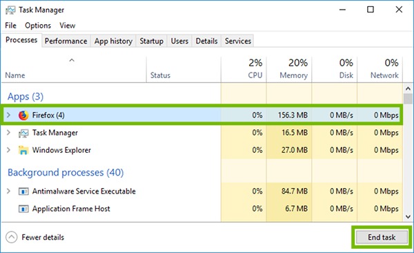 Task Manager with Firefox and End Task highlighted.