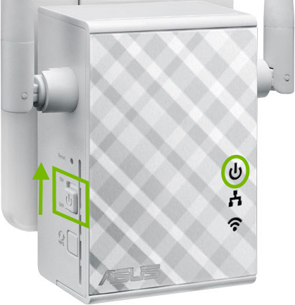 Power switch and power light highlighted on range extender.