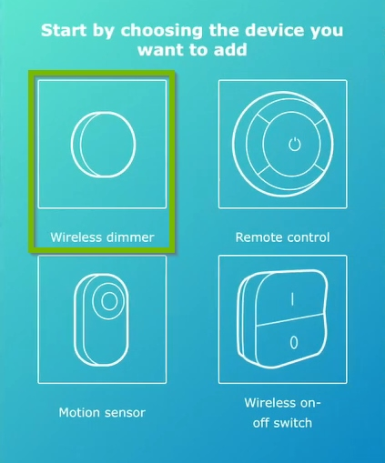 Wireless dimmer highlighted on device selection screen of IKEA Home Smart app.