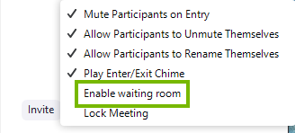 Zoom participants menu highlighting the enable waiting room feature.
