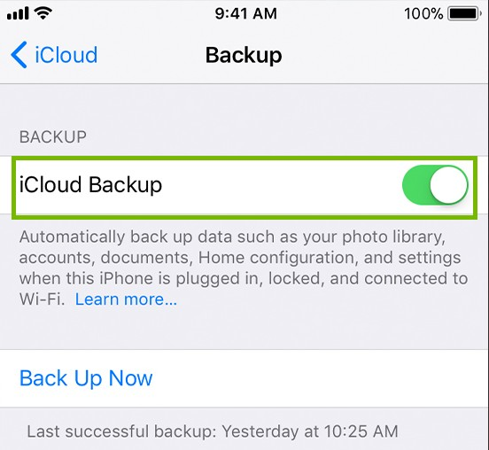 iOS icloud menu with iCloud backup highlighted