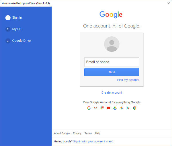 Google account sign in prompt.
