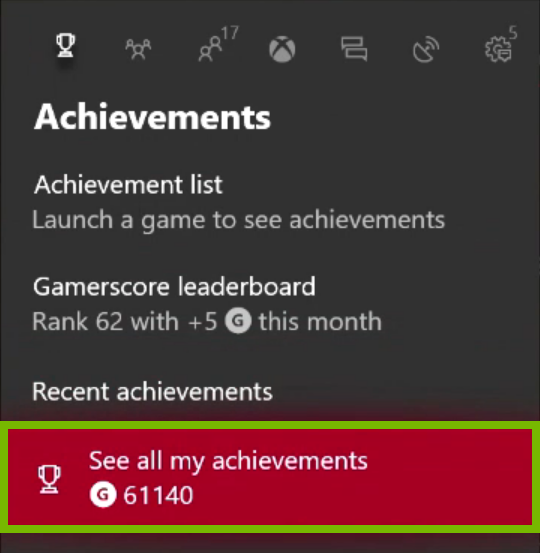 See all my achievements option highlighted in Xbox One menu.