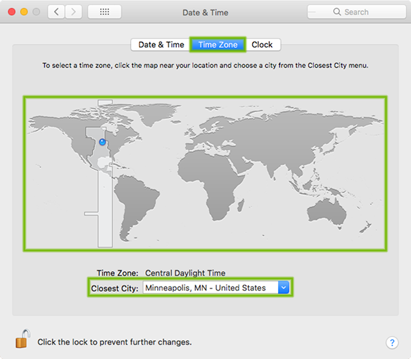 Date and Time Preferences with Time Zone, Map, and Closest City highlighted.