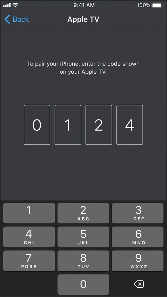 Apple pairing code. Screenshot