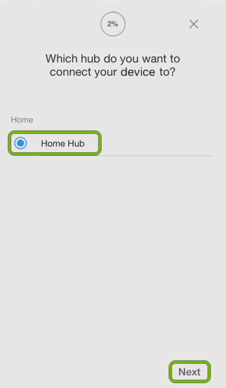 SmartThings hub's name and Next option highlighted in device setup screen of SmartThings app.