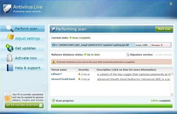 Fake anti-virus message. Screenshot