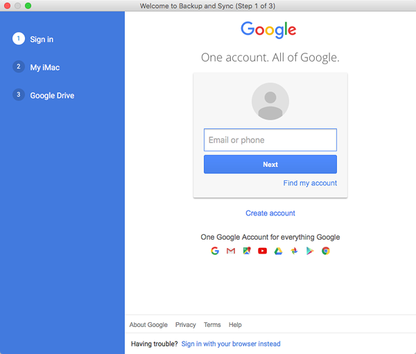 Google account sign-in prompt.