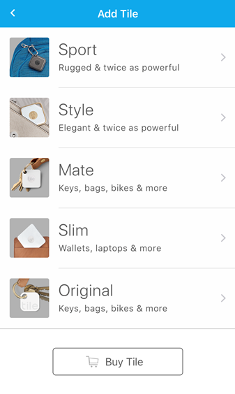 List of tile devices: Sport, Style, Mate, Slim, Original. Screenshot.