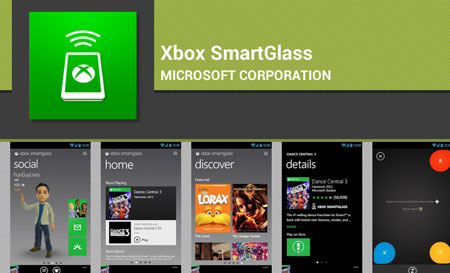 Xbox SmartGlass app in the Google Play store. Screenshot.