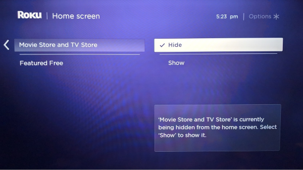 Roku TV home screen settings.