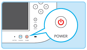 Wii U controller Power button. Illustration.