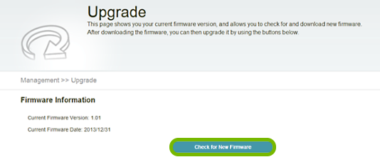 Check for New Firmware button highlighted in range extender web interface.