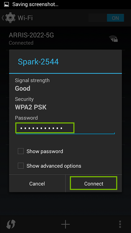 Wi-Fi password entry witj Connect highlighted. Screenshot