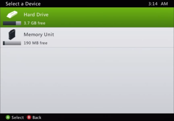 Device selection for Xbox profile storage.