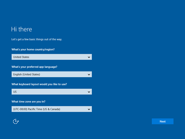 Windows 10 initial setup screen
