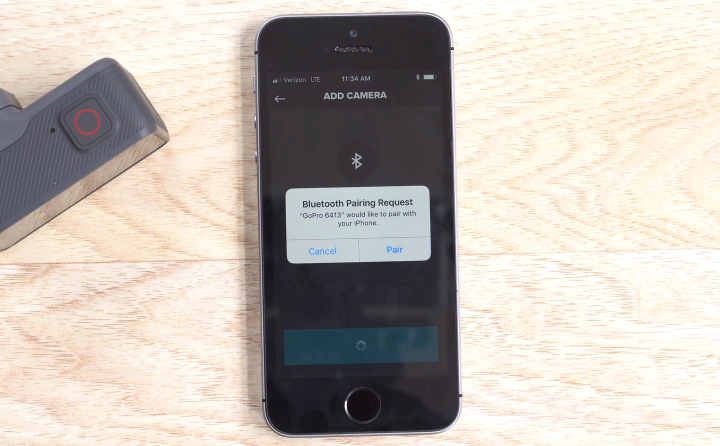 GoPro app prompting the user for permission to connect via Bluetooth.