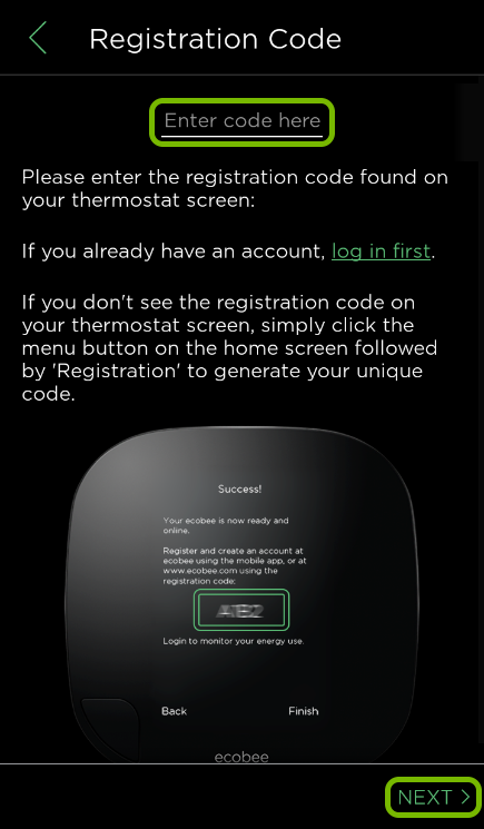 Code entry field and Next option highlighted in ecobee app.