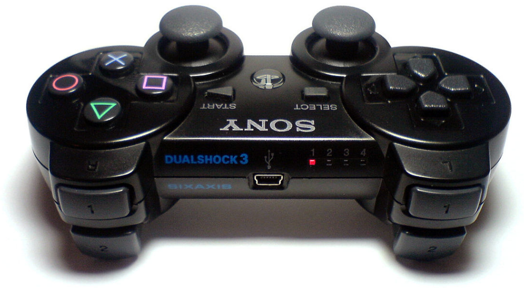 PS3 controller with red LED on.