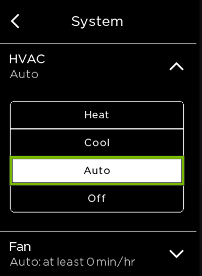 Auto option highlighted in ecobee HVAC settings.