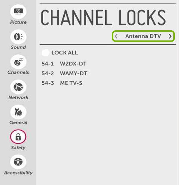 Channel Source highlighted in Safety settings of LG Smart TV.