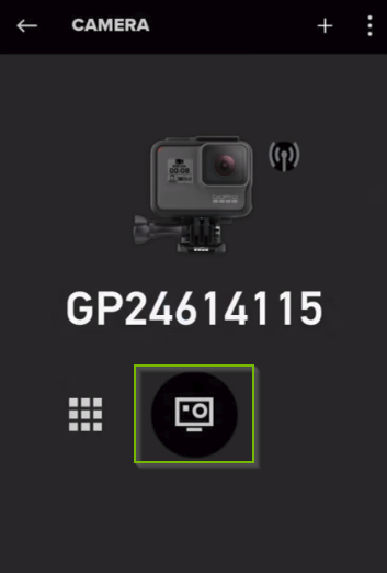 GoPro app displaying the available device. Camera button highlighted.