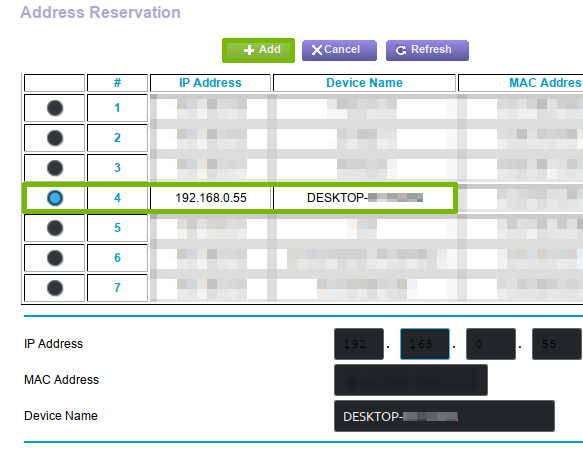 Creating an Address Reservation.