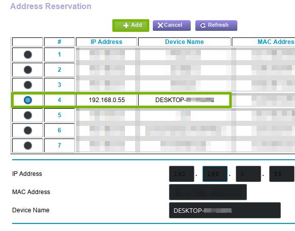 Creating an Address Reservation.