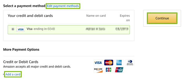 Amazon account payment information.