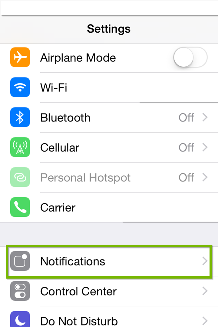 settings with notifications highlighted