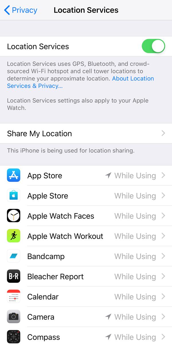 Location services menu.