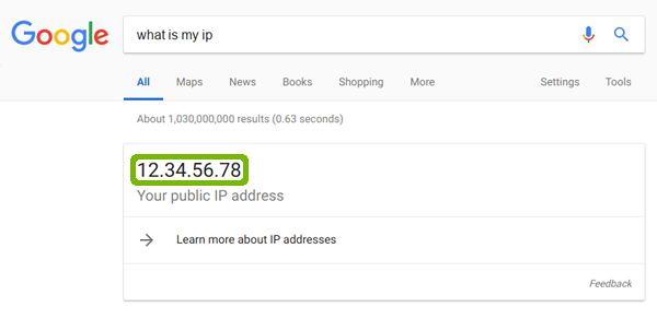 Search results with IP address highlighted.