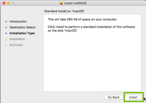 Install menu with Install highlighted. Screenshot